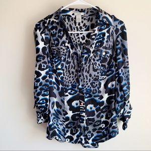 Cache Neutral Animal Print Silk Blend Blouse